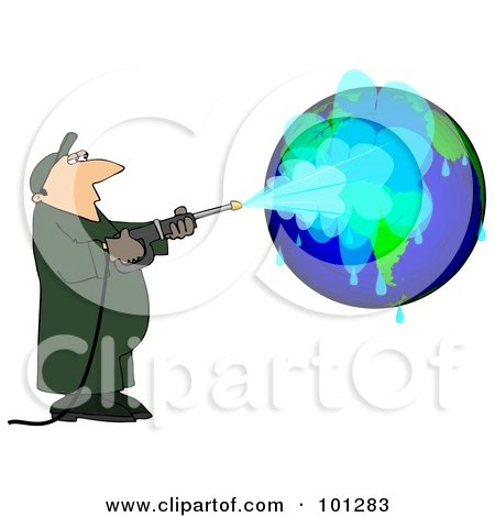 Royalty-Free (RF) Clipart Illustration of a Worker Man Pressure Washing A Globe by djart