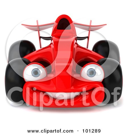 Royalty-Free (RF) Clipart Illustration of a 3d Red Formula One Race Car Facing Front by Julos