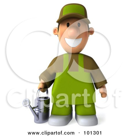 3d Gardener Toon Guy Facing Front And Holding A Watering Can Posters, Art Prints