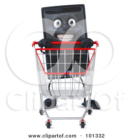 Royalty-Free (RF) Clipart Illustration of a 3d Computer Tower Character Facing Front And Pushing A Shopping Cart by Julos