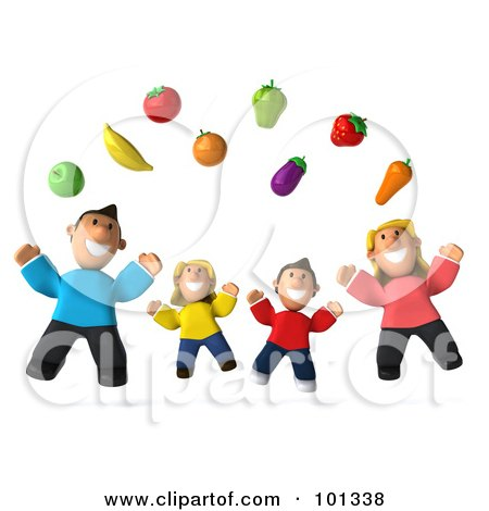 Royalty-Free (RF) Clipart Illustration of a 3d Happy Caucasian Family Jumping Under Floating Produce by Julos