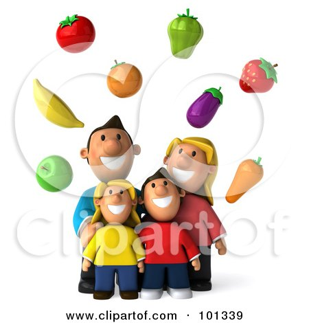 Royalty-Free (RF) Clipart Illustration of a 3d Happy Caucasian Family Looking Up At Floating Produce by Julos