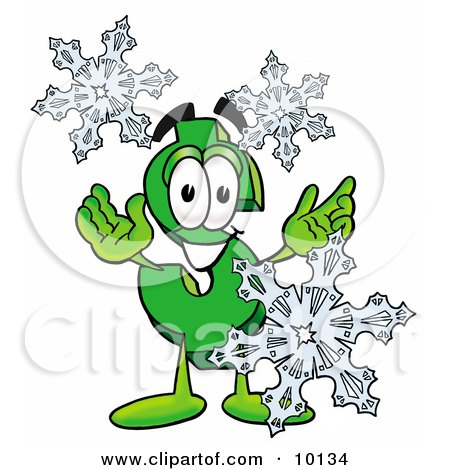 Clipart Picture of a Dollar Sign Mascot Cartoon Character With Three Snowflakes in Winter by Toons4Biz