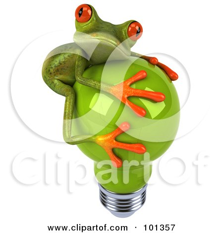 Royalty-Free (RF) Clipart Illustration of a 3d Springer Frog Facing Right And Hugging A Green Light Bulb by Julos