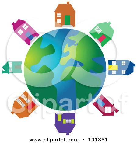 Royalty-Free (RF) Clipart Illustration of Colorful Houses Circling A Globe by Prawny