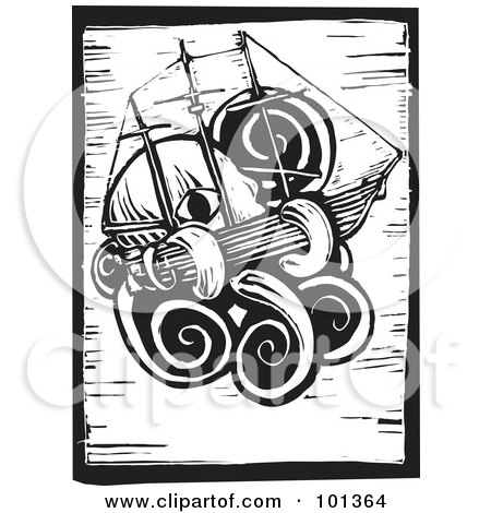 Royalty-Free (RF) Clipart Illustration of a Black And White Wood Engraving Styled Squid With A Ship by xunantunich