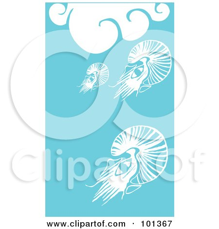 Royalty-Free (RF) Clipart Illustration of Three Squid In The Blue Sea Under White Waves by xunantunich