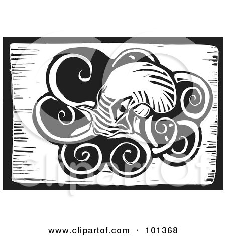 Royalty-Free (RF) Clipart Illustration of a Black And White Wood Engraving Styled Squid by xunantunich