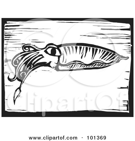 Royalty-Free (RF) Clipart Illustration of a Black And White Squid Engraved On A Plaque by xunantunich