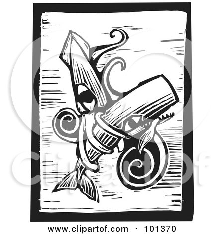 Royalty-Free (RF) Clipart Illustration of a Black And White Wood Engraving Styled Squid With A Whale by xunantunich