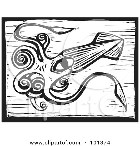 Royalty-Free (RF) Clipart Illustration of a Black And White Engraved Squid With Long Tentacles by xunantunich