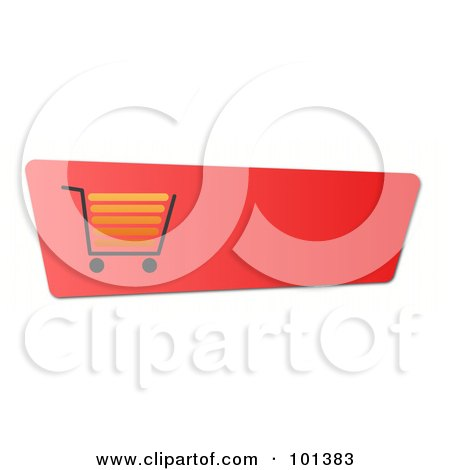 Royalty-Free (RF) Clipart Illustration of a Gradient Red Shopping Cart Website Button by oboy