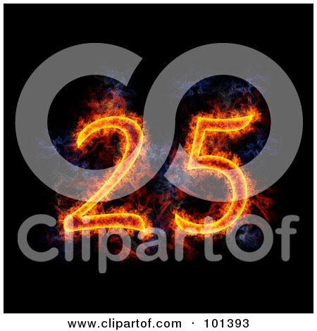 Royalty-Free (RF) Clipart Illustration of a Flaming 25 For 25th Anniversary, Over Black by Michael Schmeling