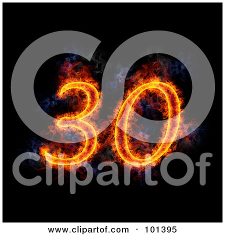Royalty-Free (RF) Clipart Illustration of a Flaming 30 For 30th Anniversary, Over Black by Michael Schmeling