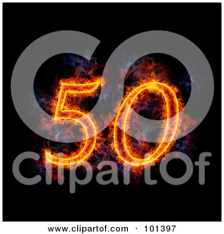 Royalty-Free (RF) Clipart Illustration of a Flaming 50 For 50th ...