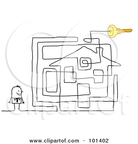 Royalty-Free (RF) Clipart Illustration of a Stick Businessman By A House Maze by NL shop