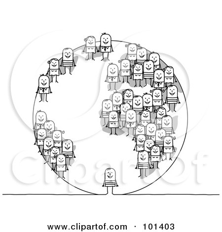 Royalty-Free (RF) Clipart Illustration of a Globe With Stick People On The Continents by NL shop