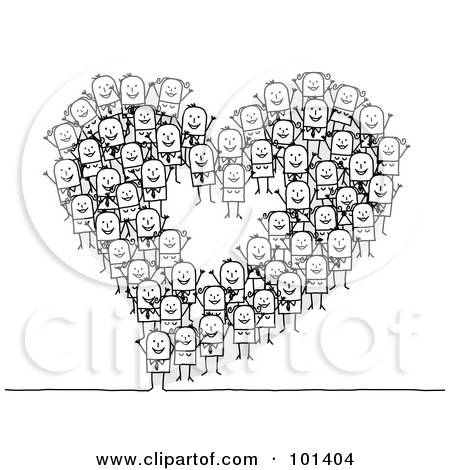 Royalty-Free (RF) Clipart Illustration of a Group Of Stick People Making A Heart Outline by NL shop