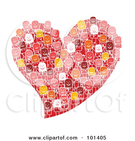Royalty-Free (RF) Clipart Illustration of a Group Of Stick People On A Red Heart by NL shop