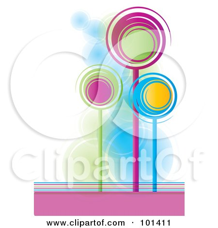 Royalty-Free (RF) Clipart Illustration of Three Tall, Colorful Spiral Trees by MilsiArt