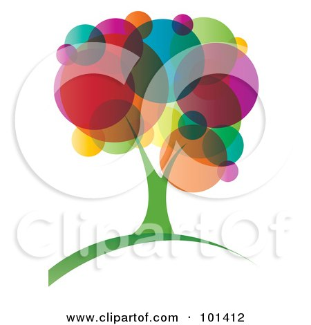 Royalty-Free (RF) Clipart Illustration of a Vibrant Tree With Colorful Circle Foliage by MilsiArt