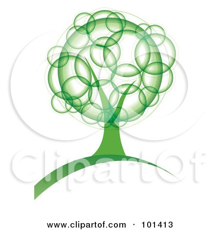 Royalty-Free (RF) Clipart Illustration of a Tree With Green Bubble Foliage by MilsiArt