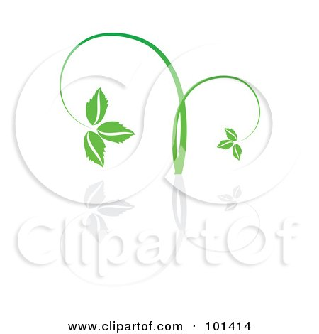Royalty-Free (RF) Clipart Illustration of a Seedling Plant With A Reflection On White - 1 by MilsiArt