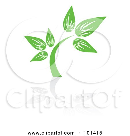 Royalty-Free (RF) Clipart Illustration of a Seedling Plant With A Reflection On White - 2 by MilsiArt