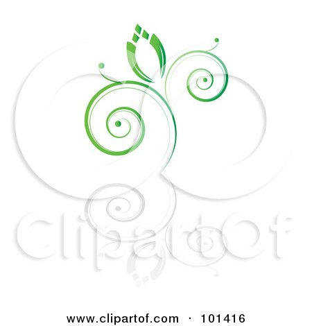 Royalty-Free (RF) Clipart Illustration of a Seedling Plant With A Reflection On White - 3 by MilsiArt