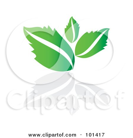 Royalty-Free (RF) Clipart Illustration of a Seedling Plant With A Reflection On White - 4 by MilsiArt