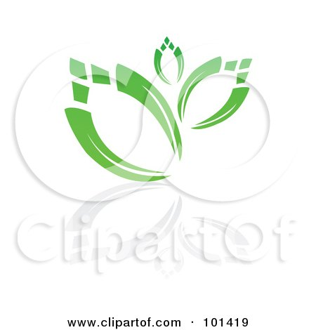 Royalty-Free (RF) Clipart Illustration of a Seedling Plant With A Reflection On White - 6 by MilsiArt