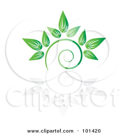 Royalty-Free (RF) Clipart Illustration of a Seedling Plant With A Reflection On White - 7 by MilsiArt