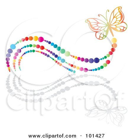 Royalty-Free (RF) Clipart Illustration of a Colorful Butterfly With A Rainbow Bubble Trail And A Reflection by MilsiArt