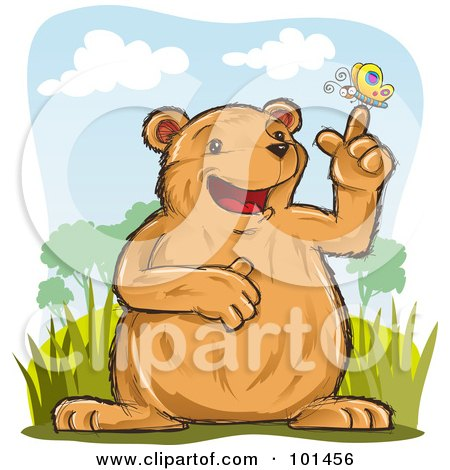 Royalty-Free (RF) Clipart Illustration of a Happy Bear With A Butterfly On His Finger by Qiun
