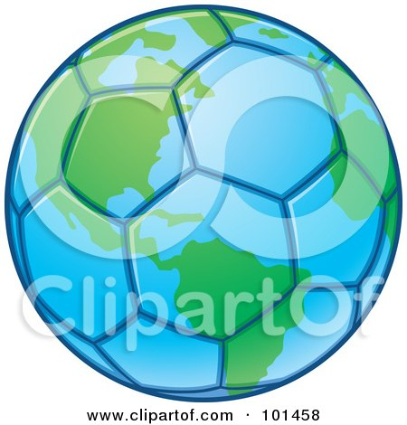 Royalty-Free (RF) Clipart Illustration of a Blue And Green Soccer Globe by John Schwegel
