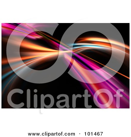 Royalty-Free (RF) Clipart Illustration of a Fractal Background Of Colorful Swooshes Over Black - 2 by Arena Creative