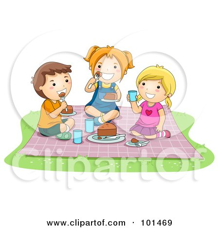 Royalty-Free (RF) Clipart Illustration of Two Girls And A Boy Eating Food At A Picnic by BNP Design Studio