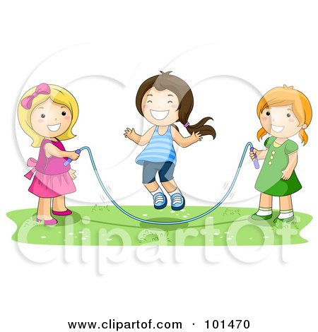 Royalty-Free (RF) Clipart Illustration of Three Happy Girls Playing With A Jump Rope by BNP Design Studio