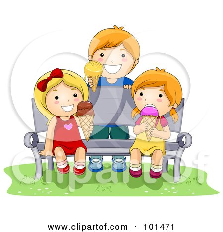 Royalty-Free (RF) Clipart Illustration of a Boy And Two Girls Eating Ice Cream On A Bench by BNP Design Studio