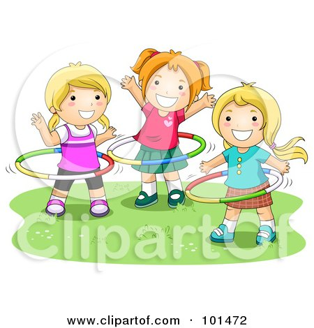Royalty-Free (RF) Clipart Illustration of Three Happy Girls Playing With Hula Hoops by BNP Design Studio