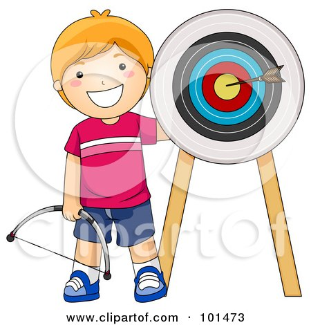 Royalty-Free (RF) Clipart Illustration of a Happy Red Haired Boy Standing By An Arrow On A Target by BNP Design Studio