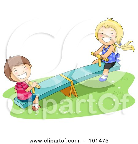 Royalty-Free (RF) Clipart Illustration of a Happy Boy And Girl Playing On A See Saw by BNP Design Studio