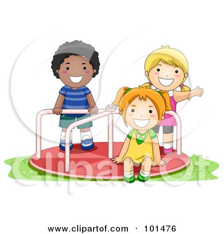 Royalty-Free (RF) Clipart Illustration of a Black Boy And White Girls Playing On A Playground Roundabout by BNP Design Studio