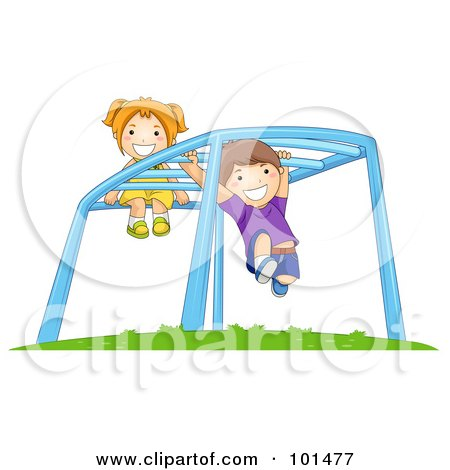 Royalty-Free (RF) Clipart Illustration of a Happy Boy And Girl Playing On Playground Monkey Bars by BNP Design Studio