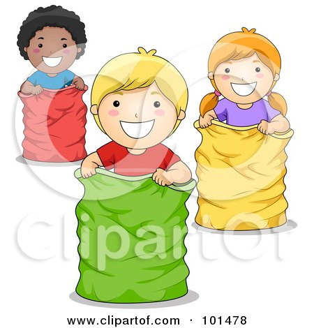 Black Boy, White Boy And White Girl Playing In A Sack Race Posters, Art Prints