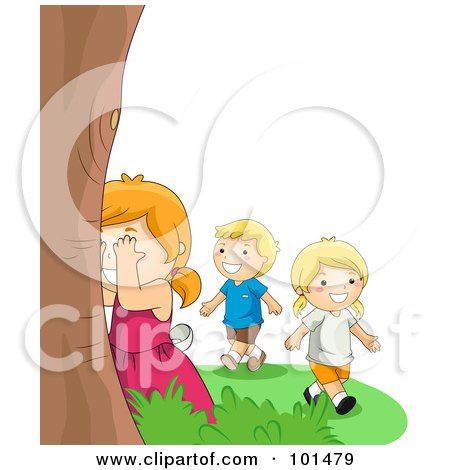 Royalty-Free (RF) Clipart Illustration of a Boy And Two Girls Playing Hide And Seek Outdoors by BNP Design Studio