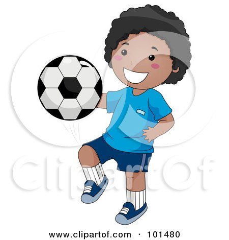Happy Black Boy Kicking A Soccer Ball With His Knee Posters, Art Prints