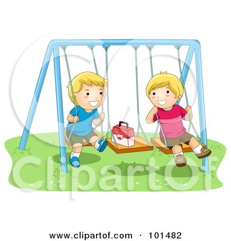 Royalty-Free (RF) Clipart Illustration of Two Happy Boys Playing On Swings by BNP Design Studio
