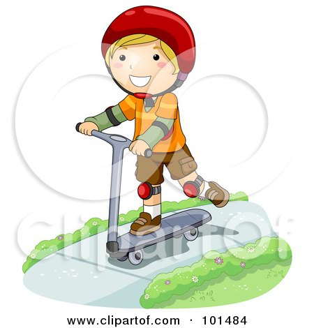 Royalty-Free (RF) Clipart Illustration of a Happy Blond Boy Riding A Scooter On A Sidewalk by BNP Design Studio