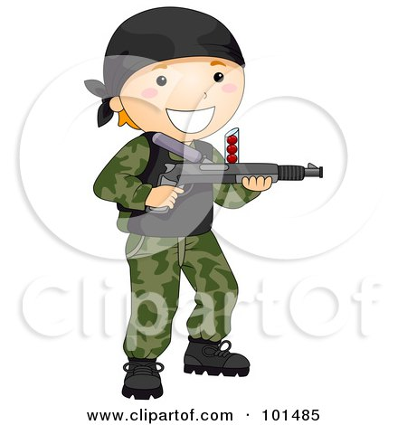 Royalty-Free (RF) Clipart Illustration of a Happy Boy Playing Paintball by BNP Design Studio